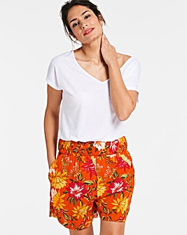 Floral Crinkle Shirred Waist Shorts