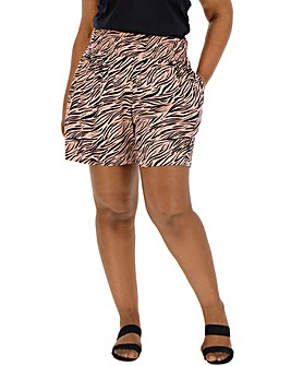 Pink Print Crinkle Shirred Waist Shorts