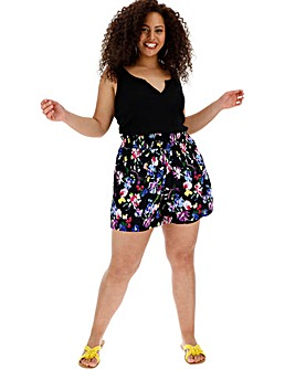 Floral Crinkle Shired Waist Shorts