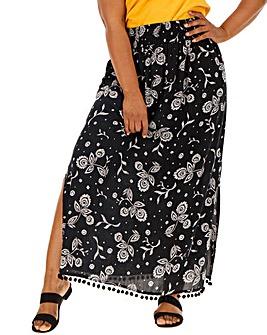 Black & Ivory Crinkle Pom Pom Maxi Skirt