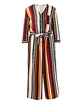 Multi Stripe Button Through Jumpsuit