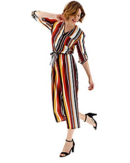 Multi Stripe Button Through Jumpsuit