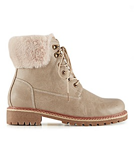 Cleated Sole Warm Lined Lace Up Ankle Boots Wide E Fit
