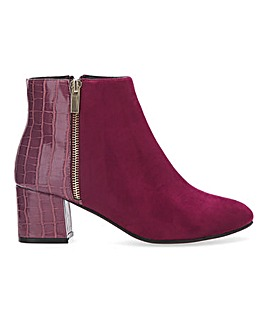 Mock Croc Detail Ankle Boots Extra Wide EEE Fit