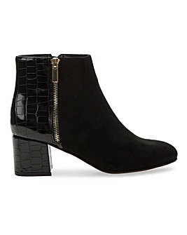 Mock Croc Detail Ankle Boots EEE Fit