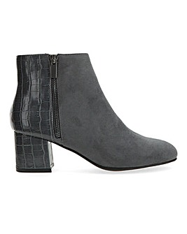 Mock Croc Detail Ankle Boots Wide E Fit