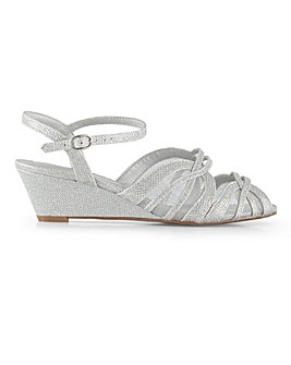 Heavenly Soles Mesh Detail Wedge Sandals Wide E Fit