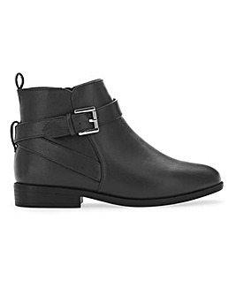 Buckle Detail Boots With Inside Zip Wide E Fit