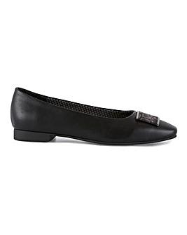 Square Toe Trim Ballerina Shoes Wide E Fit
