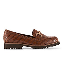 Cleated Sole Trim Loafers Wide E Fit