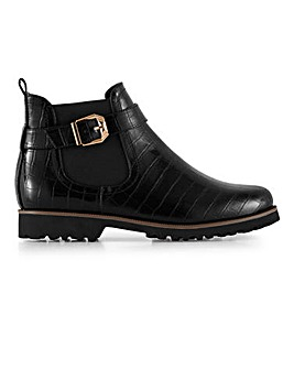 Casual Cleated Sole Ankle Boots Wide E Fit