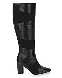 Panel Detail High Leg Boots Wide E Fit Standard Calf
