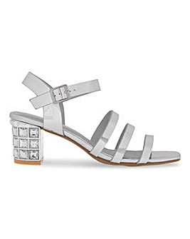 Block Heel Strappy Sandals Extra Wide EEE Fit