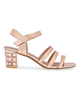 Block Heel Strappy Sandals Wide E Fit