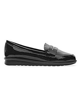 Cushion Walk Patent Flexible Loafers Wide E Fit