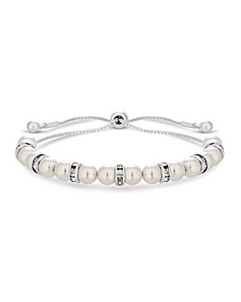 Silver Pearl and Pave Toggle Bracelet