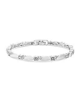 Silver Polished Crystal Link Bracelet