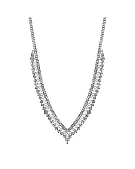 Jon Richard Pearl And Crystal V Necklace