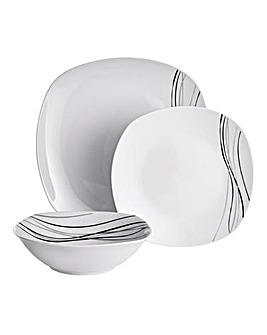 Monochrome Waves Soft Square 24-Piece Dinner Set