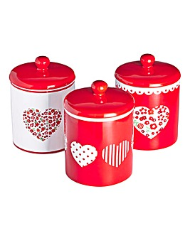 Red Folk Set of 3 Canisters