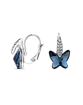 Jon Richard Denim Butterfly Earring