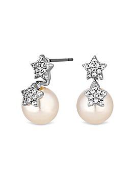 Jon Richard Double Star Pearl Earring