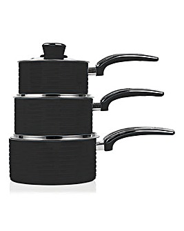 Swan Retro Ceramic Saucepans Set of 3 Black