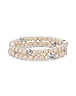 Jon Richard Cream Pearl Stretch Bracelet