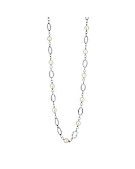 Silver Plated 41' Cream Pearl And Polished Oval Necklace