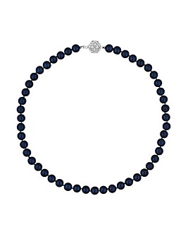 17' Navy Blue Pearl Necklace With Filigree Ball