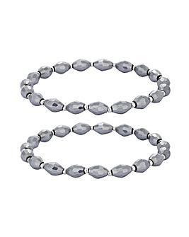 Jon Richard Multi Row Grey Bead Bracelet