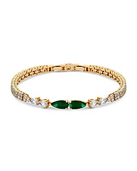 Gold Plated Cubic Zirconia Emerald Green Pear Bracelet
