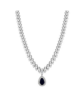 Silver Plated Cubic Zirconia Baguette Navette Blue Sapphire Pear Drop Necklace