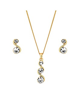 Gold Crystal Twist Pendant Set-Gift Boxed
