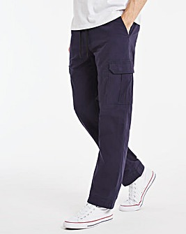 Navy Stretch Drawstring Ripstop Cargo Trousers 29 Inch Inside Leg