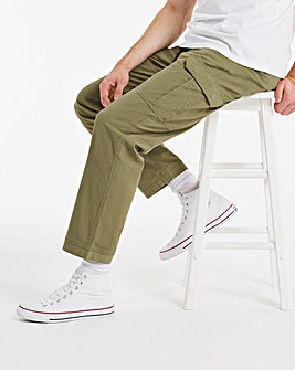 Khaki Stretch Drawstring Ripstop Cargo Trousers 29 Inch Inside Leg