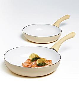 Set of 2 Ceramic Fry Pans Cream