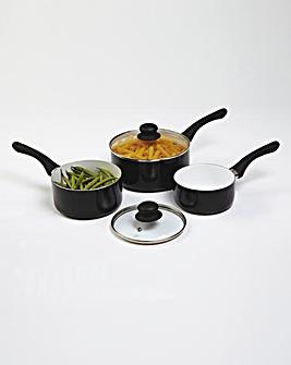 Set Of 3 Ceramic Saucepans Black