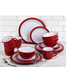16-Piece Camden Dinner Set Red