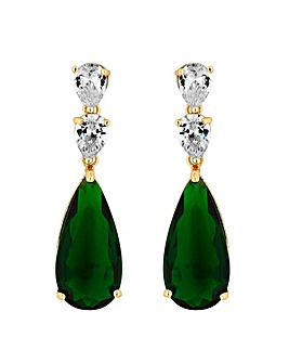Gold Plated Cubic Zirconia Emerald Green Pear Drop Earring