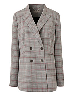 Double Breasted Checked Blazer Petite