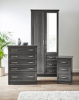 Kingston 3 Piece Bedroom Package (Bedside, 5 Drawer Chest, 2 Door Wardrobe)