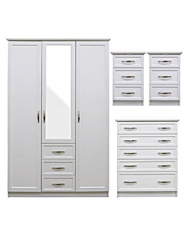 Kingston 4 Piece Bedroom Package (2 x Bedside, 5 Drawer Chest, 3 Door Wardrobe)