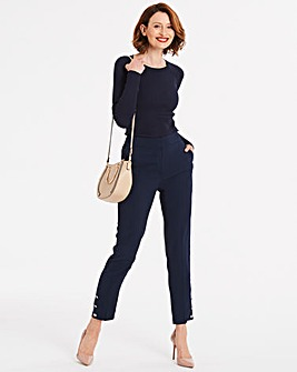 Button Trim Tapered Cropped Trousers