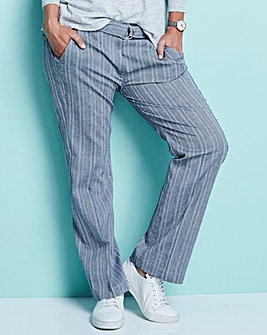 Herringbone Wide Leg Belted Trousers