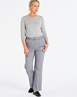Herringbone Wide Leg Belted Trousers