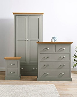 Ashford 3 Piece Bedroom Package (Bedside, 3+2 Drawer Chest, 2 Door Wardrobe)