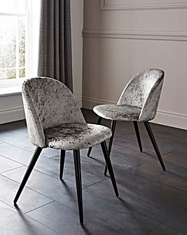 Palazzo Crushed Velvet Pair of Dining Chairs