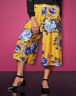 Yellow Floral Wide Leg Culotte