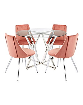 Estelle Circular Dining Table and 4 Anais Velvet Chairs